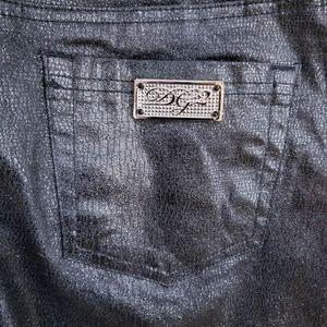 Diane Gilman Black Metallic Straight Boot Cut Jean
